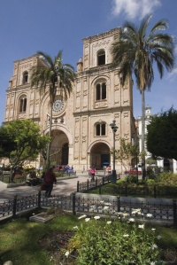 The new cathedral de la Immaculada Concepcion built in 1885 in Parque Calderon, the main plaza  in the colonial centre of Cuenca