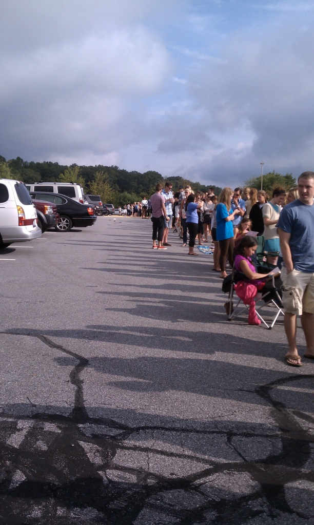 Sometimes the line wraps all the way around the parking lot. Rumor has it the line forms at 4am on the first day of the sale.