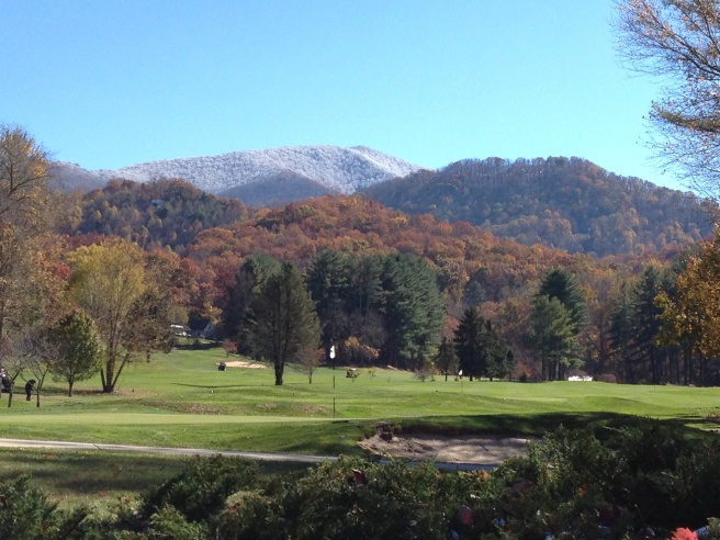 A blanket of snow on top of the mountains is all the remains from Saturday's storm.