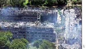 Aerial view of the Paradise Hotel after bombing news.bbc.co.uk