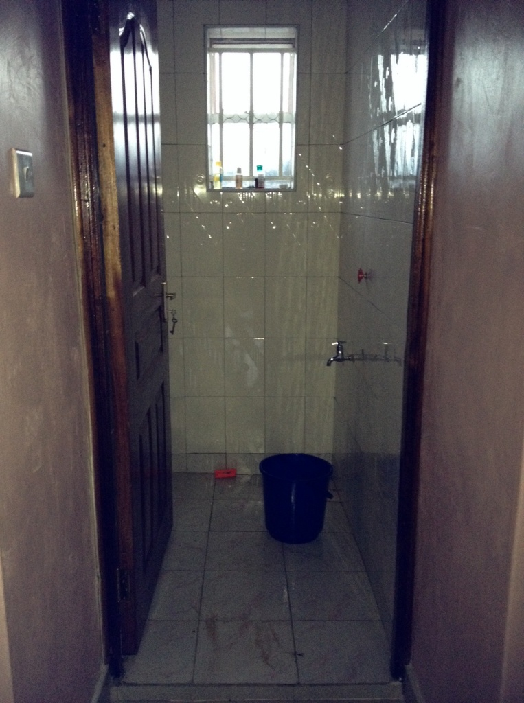 The 'warm water bucket' and the shower.