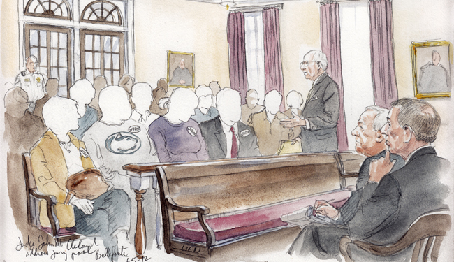 A court sketch shows Judge John M. Cleland addressing the jury pool during the jury selection process in the child sex abuse trial of former Penn State assistant football coach Jerry Sandusky