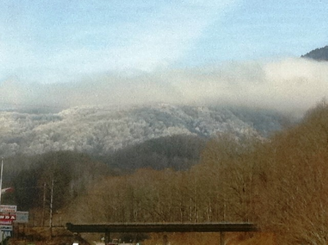 A view looking toward Balsam Mountain from the side of the road on my way home from a long run.