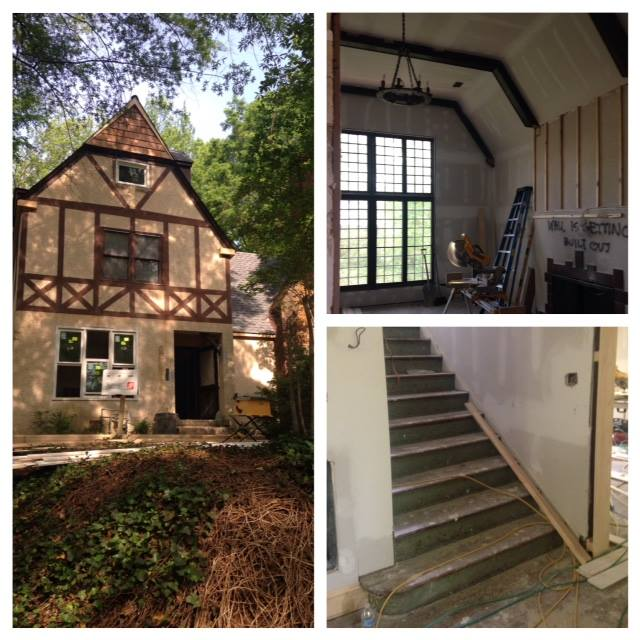 Some of the house's most impressive features: the classic Tudor Revival exterior, the family room, and the central stairway.... all in progress.
