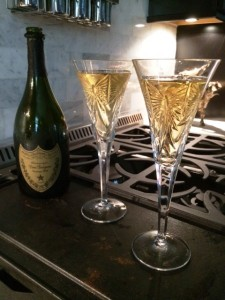 Celebrating with a bottle of 1998 Dom Perignon. The only clear spot to take the picture was on the stove.