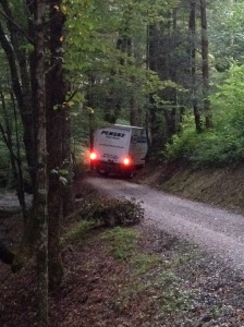 The last truck leaving home in the mountains.