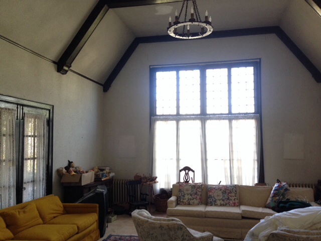 Our first view of the great room of our lovely, old home.