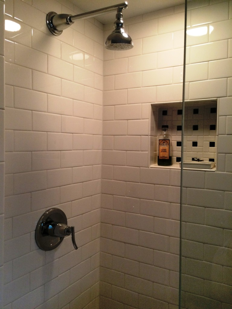 Taking possession of a hallway linen closet gave way to a shower for the 3rd floor bath.