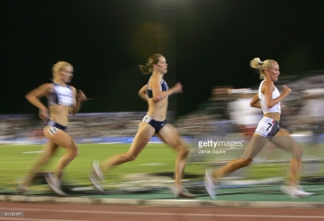 SACRAMENTO, CA - JULY 12: Shalane Flanagan of Nike (far right) competes in the 5000 Meter Run during the U.S. Olympic Team Track & Field Trials on July 12, 2004 at the Alex G. Spanos Sports Complex in Sacramento, California. (Photo by Jamie Squire/Getty Images) *** Local Caption *** Shalane Flanagan